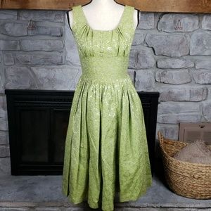 Vintage chartreuse green brocade floral dress XS